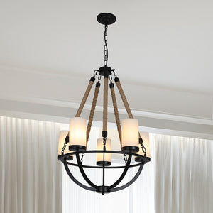 Wrought Iron and Natural Rope Chandelier - Black Metal with Rope Accents with 5-Light Shades
