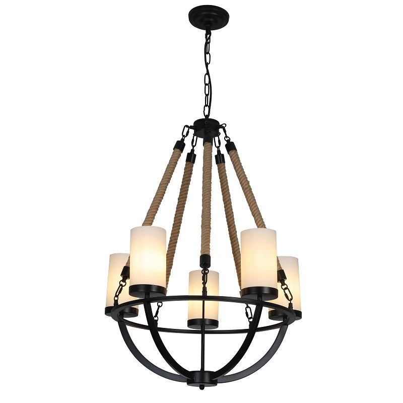 Rowan - Wrought Iron and Natural Rope Chandelier - Black Metal with Rope Accents with 5-Light Shades
