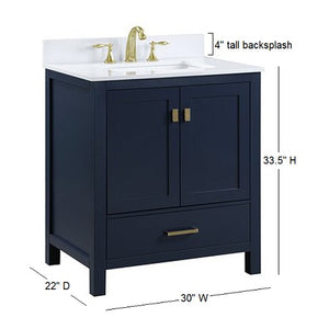 "Hudson - 30"" Blue, Modern Freestanding Bathroom Vanity"
