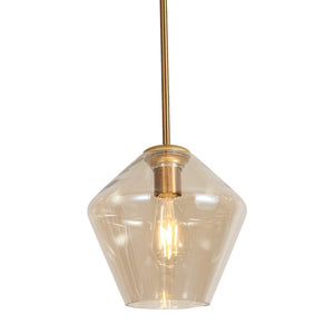 Remy - Antique Brass Hanging Pendant Light with Amber Glass Shade