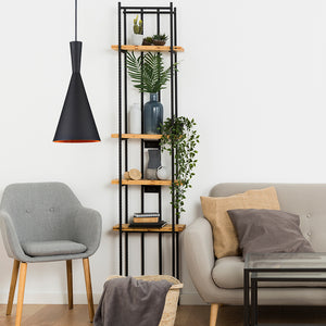 Finn - Matte Black Hanging Pending Light with Golden Interior Shade