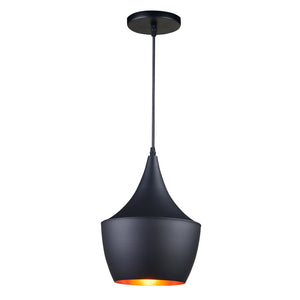 Noah - Matte Black Hanging Pendant Light with Golden Interior Shade