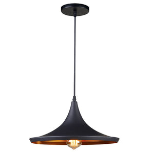Matte Black Hanging Pendant Light with Golden Interior Shade