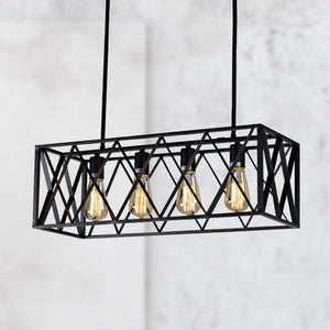 Black Rectangular Wrought Iron Chandelier 4 Light