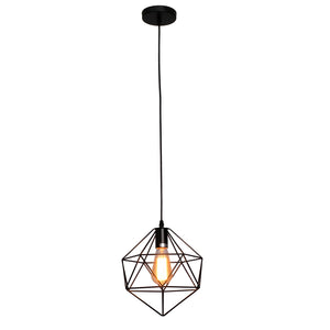 Jackson - Hanging Black Metal Pendant Light Wrought Iron Geometric Cage Design