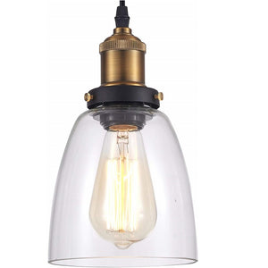 Industrial Pendant Lamp, Antique Brass with Glass Shade