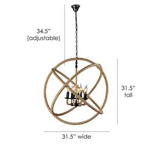Louis 8-Light Hemp and Metal Chandelier