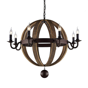 Blake - Natural Wooden Orb Kitchen Light Fixture With Rustic and Metal Finishes