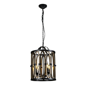Modern 4-Light Cage Chandelier with Adjustable Chain - Industrial Hanging Light Fixture
