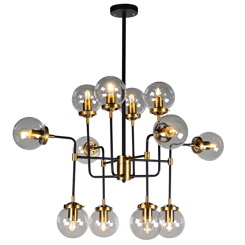 Everly - Globe Clear Glass 12-Light Chandelier, Industrial Modern Metal Black and Gold
