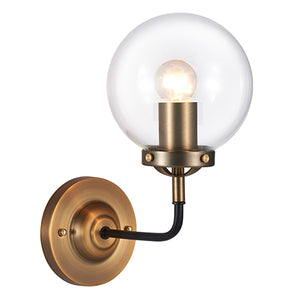 Everly Antique Brass Wall Sconce Light with Clear Globe Shade
