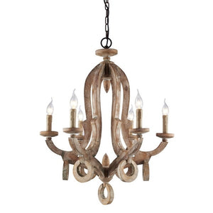 Tradition, 6-Light Dimming Light Wooden Decorative Chandelier