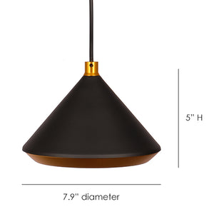 Jojo Matte Black Hanging Pendant Light with Gold Shade Interior