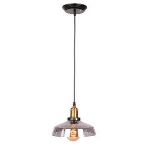 Everett - Smoked Glass Hanging Pendant Light with Brass Accents