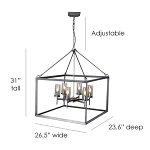 Tilly 6-Light Cage Frame Chandelier in Brushed Black