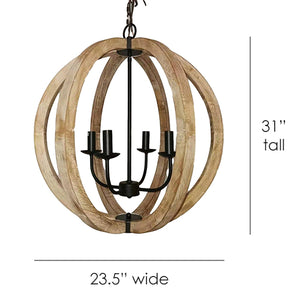 Sullivan Round Iron and Wood 4-Light Chandelier