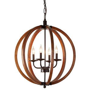 Rustic Farmhouse Wooden Globe Chandelier - Distressed Wood Sphere Pendant Orb Ceiling Light