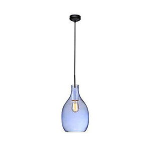 Modern Hand Blown Light Blue Glass Dome Pendant Light