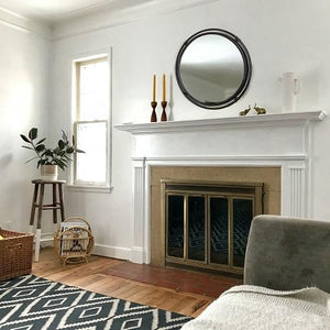 "Lansing - Round 30"" Black Metal Wall Mirror with Double Iron Frame"