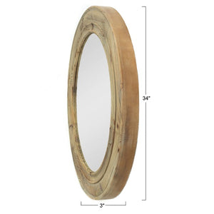 "Aspen - 34"" Round Mirror with Rustic Wood Frame"