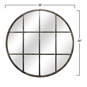 "Montrose - Large 30"" Round Windowpane Mirror with Bronze Metal Finish"