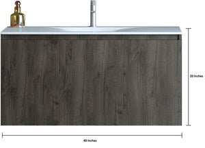 Homer 40 Inch Modern, Wall Mounted Floating Bathroom Vanity
