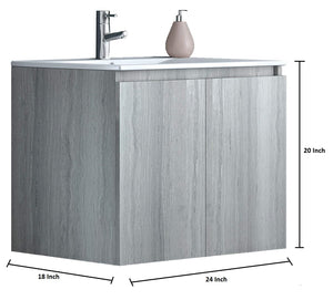 Tassos 24 Inch Modern, Wall Mounted Floating Bathroom Vanity