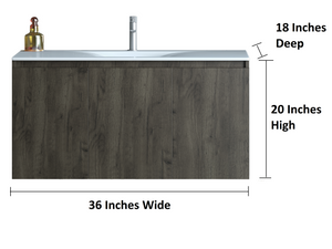 Ender 36 Inch Modern, Wall Mounted Floating Bathroom Vanity