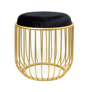 Alana - Round End Table/Accent Stool with Gold Metal Cage Base and Black Fabric Covered Top