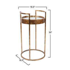 Dupont - Round Iron End Table in Antique Gold Finish with Mirrored Glass Top