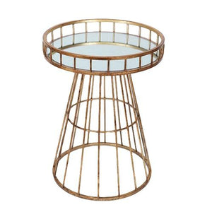 Maribel - Modern Chic End Table with Glass Mirrored Top and Wired Iron Frame in Gold Finish