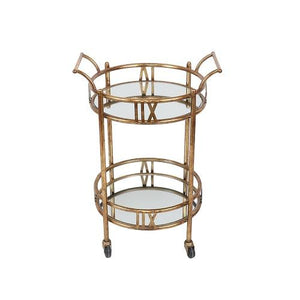 Colette - 2-Tier Gold Rolling Bar Cart with Glass Mirror Shelves