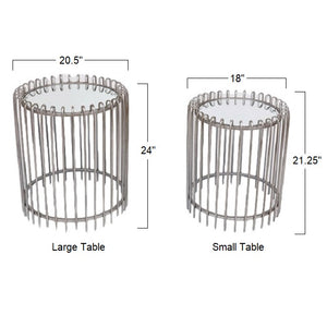 Bayside - Round Iron End Tables with Glass Tops, Set of 2