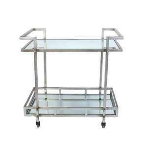 Ariella - 2-Tier Chrome Rolling Bar Cart with Glass Mirror Shelves