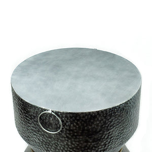 Savi - Hammered Iron Metal End Table in Antique Silver Finish