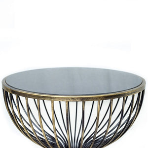 Eden - Iron Metal End Table with Iron Cage Frame In Black/Antique Gold Finish and Mirror Top