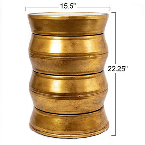 Casablanca - Iron Drum End Table in Antique Gold Finish with Glass Top