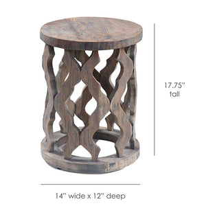 Monaco Carved Natural Teak Wood Accent Table