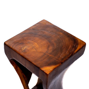 Belfast Side Table - Dark Brown Natural Suar Wood with Twist Design