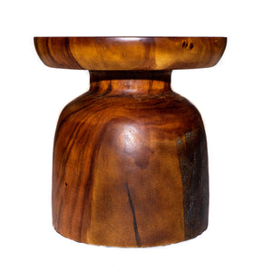 Kiara Sculptural Round End Table from Solid Suar Wood