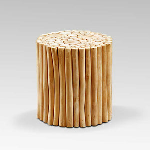 Samir Acacia Wood End Table with Natural Wooden Logs