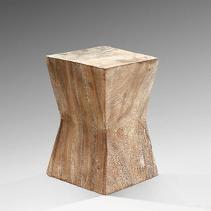Toba Natural Wood Table with Geometric Hourglass Shape