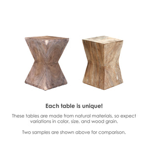 Toba Natural Wood Pyramid Accent Table