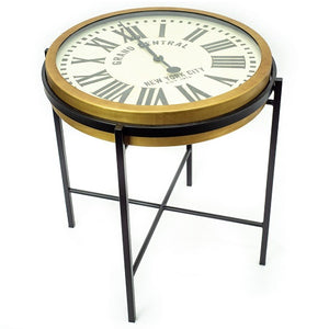Liverpool - Round End Table with Working Clock Top and Gold/Black Iron Frame