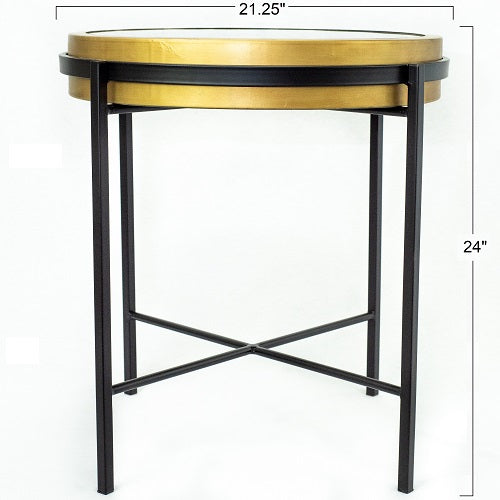 Liverpool Round End Table With Working Clock Top And Gold Black Iron A Touch Of Design