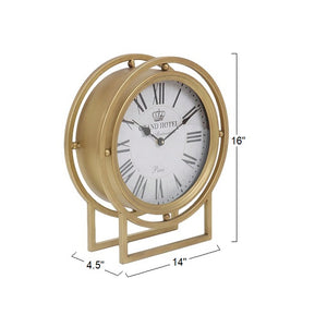 "Ripley - 16"" Standing Desk Clock in Gold Metal Finish with Roman Numerals"
