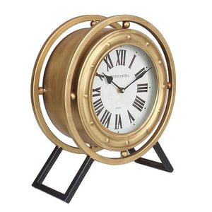 "Levi - 14.5"" Standing Desk Clock in Black and Gold Metal Finish with Roman Numerals"