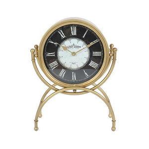 "Dubois - 19.25"" Standing Desk Clock in Gold Metal Finish with Glass with Roman Numerals"