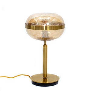 Nova Table Lamp - Brass Metal Table Lamp with Amber Raindrop Glass Shade