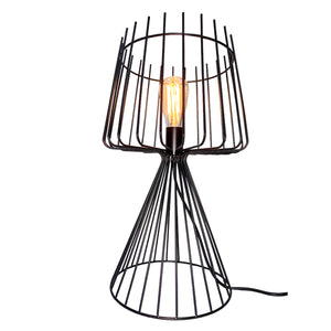 "Lana - 20"" Industrial Metal Table Lamp with Iron Cage Shade and Base"